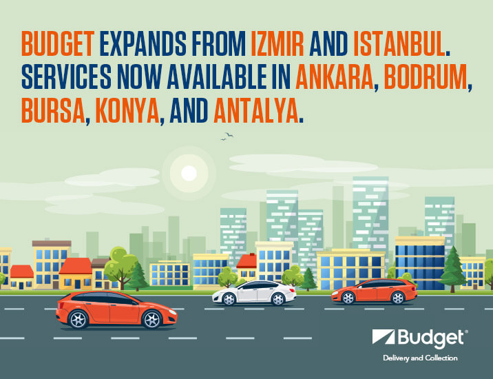 <b>Budget Delivery and Collection</b><br /> <br /> You could not find a rental office at your location, or do not have the time to search for it? Do not worry, Budget is with you.<br /> With Budget Delivery and Collection service, Budget is everywhere in Istanbul, Bursa, Izmir, Ankara, Antalya and Konya!<br /> With Budget Delivery and Collection service, those who rent a car from Budget can pick up their vehicles from the point they want and return them wherever they want in Istanbul, Bursa, Izmir, Ankara, Antalya and Konya!<br /> <br /> <b>Budget Delivery and Collection</b><br /> With Budget Delivery and Collection, Budget now comes with you wherever you want.<br /> All you have to do is to rent a car with Budget Delivery and Collection.<br /> With the Budget Delivery and Collection service, your car is delivered to you wherever you want, and can be picked up from anywhere you desire. All you have to do is enjoy your car.<br /> In order to experience Budget comfort and prestige wherever you want, you too can call our Reservation Center at&nbsp;<b>444 47 22</b>&nbsp;to create your request.<br /> Have a pleasant trip!<br /> &nbsp; <p><b>Budget Delivery and Collection&nbsp;rental conditions;</b></p>  <ul> <li>Budget&nbsp;general rental conditions apply.</li> <li>The full address declared by the customers must be entered in the address boxes (it must be a home or office address).</li> <li>Car deliveries are made only during working hours.</li> <li>After booking, the address information can be updated by calling the reservation center up to 3 hours before the rental period.</li> <li>With Budget Delivery and Collection, reservations can be made 3 hours in advance, provided it is during working hours.</li> <li>Vehicles to be delivered leave our parking areas with full fuel tanks. The vehicle will be returned with the fuel level as delivered.</li> </ul>  <p><strong>In the event of possible delays;</strong></p>  <ul> <li>In the event of a possible delay, our Call Center mus